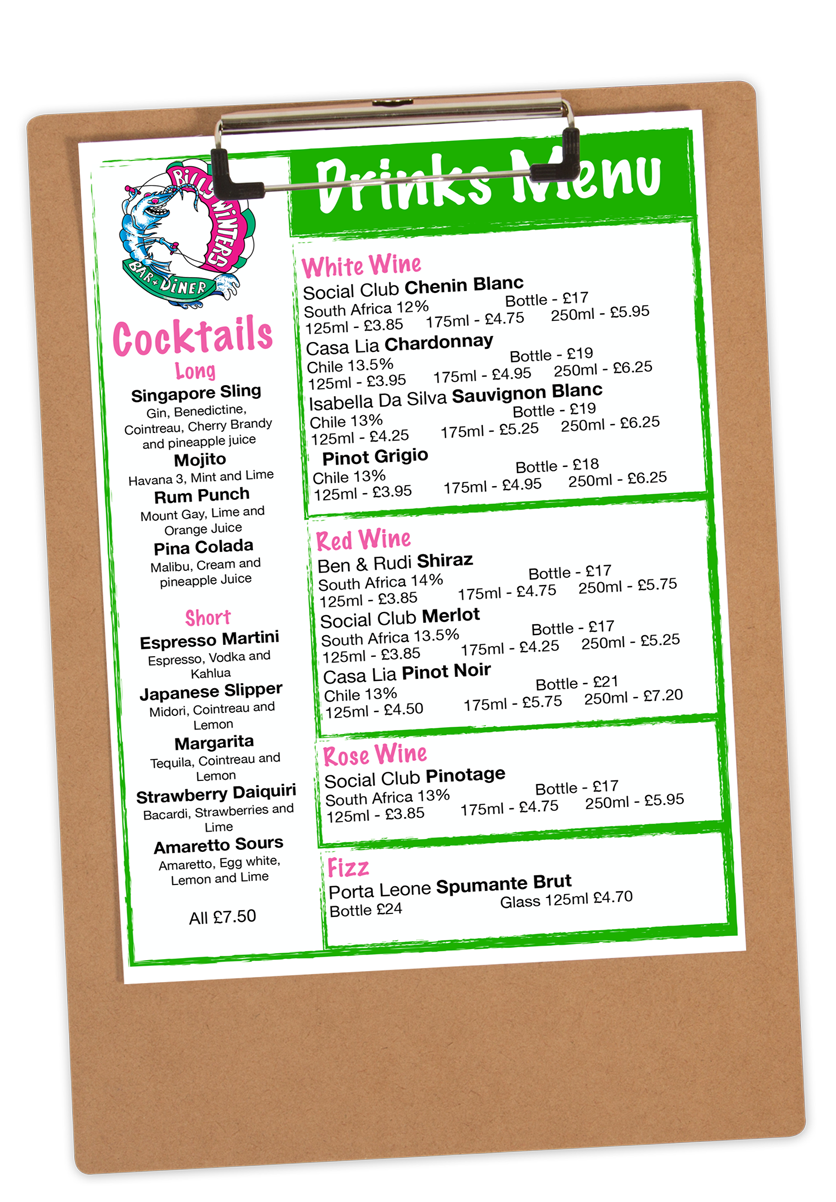 Menu of Drinks Served at Billy Winters